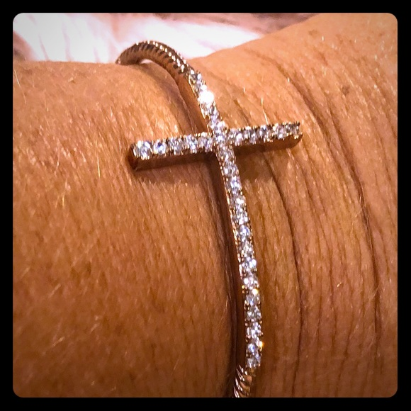 Jewelry - Rose Gold CZ Cross Bangle